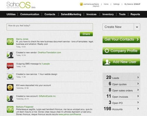 SohoOs- A Free Online Business Management Tool