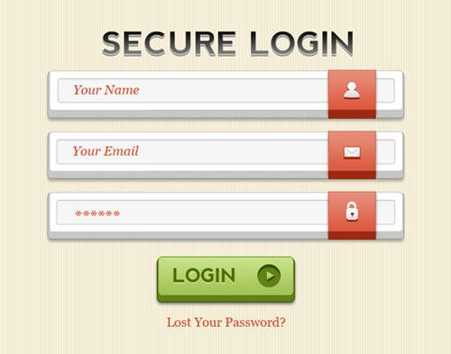 20 beautiful login forms psd for designers