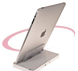 USB Sync & Charge Cradle-Docking Station (with AC Charger) for Apple iPad (Silver) (Includes OrionGadgets Accessory Pouch)