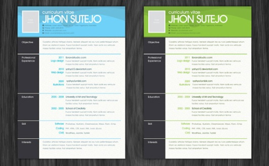10 free one page pattern resume template psd