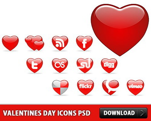 Valentines Day Icons PSD
