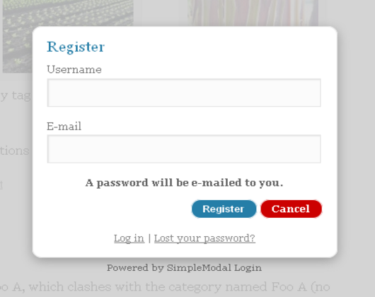 Simple Modal Login WordPress Register