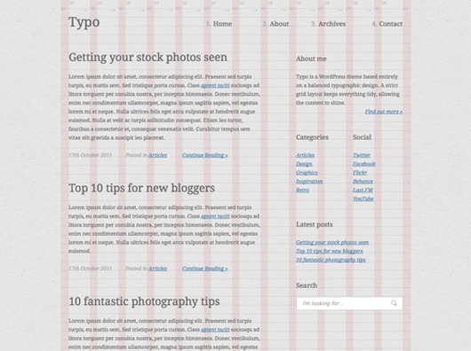 Typography Based Blog Layout in HTML5