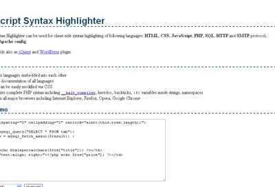 Jush JavaScript Syntax Highlighter