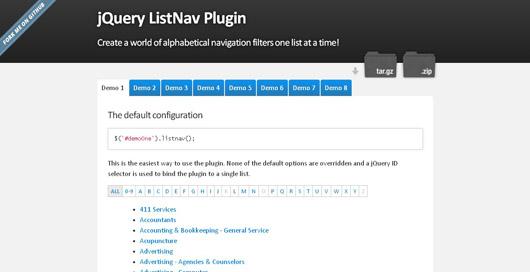 jQuery ListNav Plugin