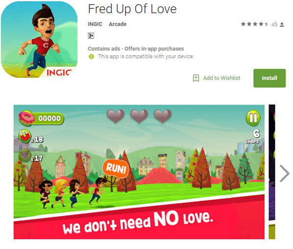 fred up of love