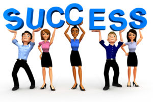 3d Business group holding up a sign of success - isolated over white