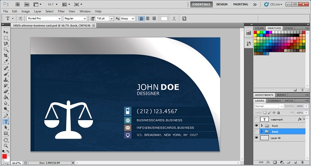 Design high quality business cards in photoshop for free skytechgeek attorney business card reheart Choice Image