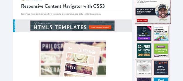 responsive content navigator