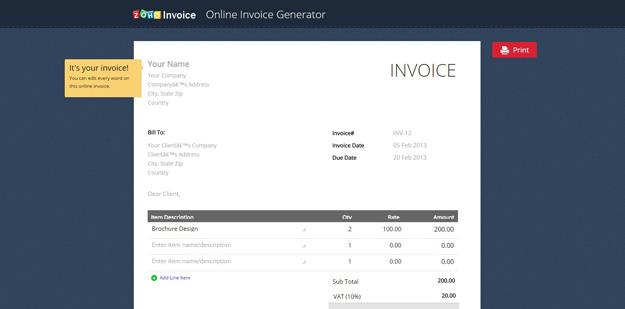 zoho-online-invoice-generator